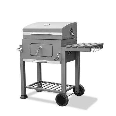 Deluxe Freestanding Cart-Style Charcoal Grill Outdoor BBQ Station in Gray with Thermometer and Foldable Side Shelves