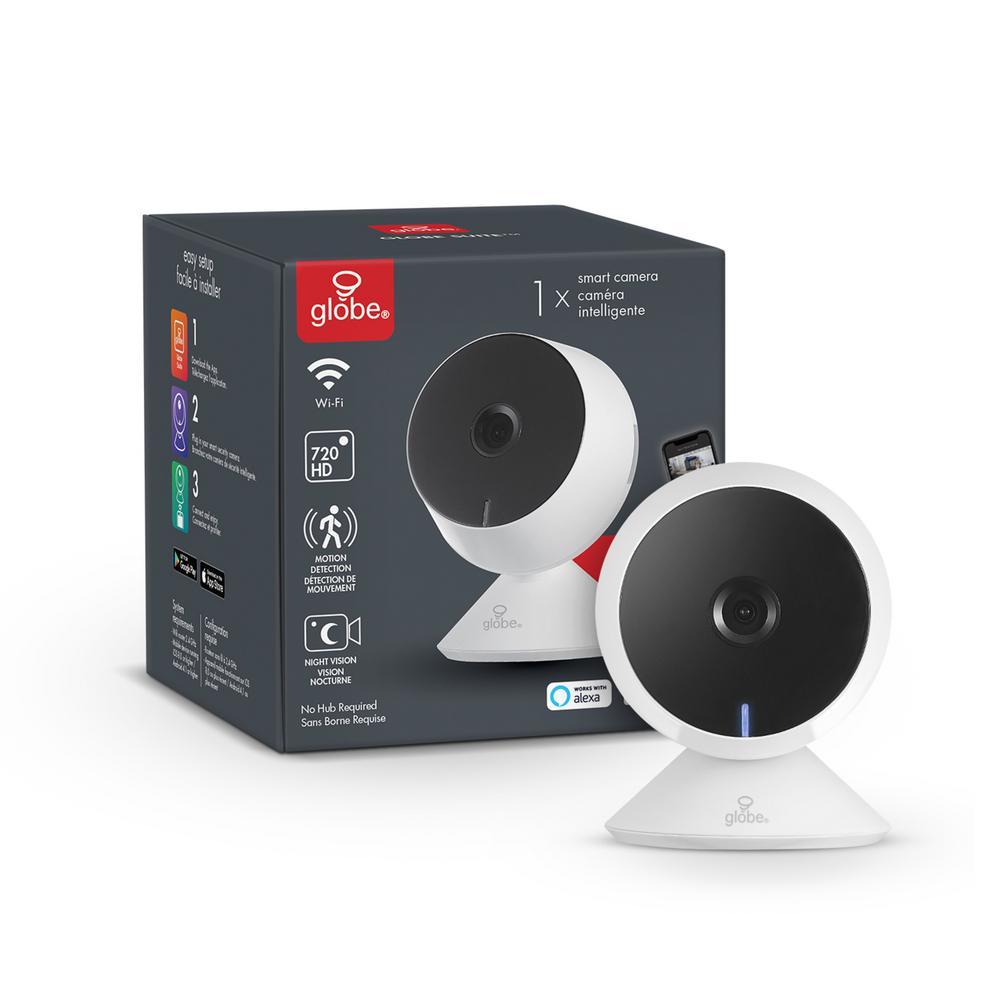 Globe Electric Wi-Fi Smart 720p White Indoor Security Surveillance Camera
