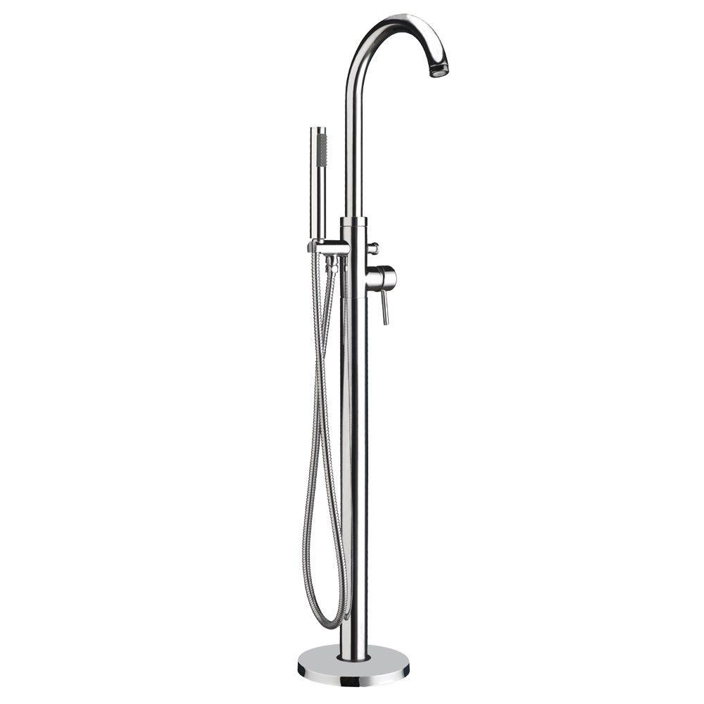 Whitehaus Collection Bathhaus 1-Handle 1-Spray Floor-Mount Tub Filler with Hand Shower in Polished Chrome