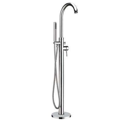 Bathhaus 1-Handle 1-Spray Floor-Mount Tub Filler with Hand Shower in Polished Chrome