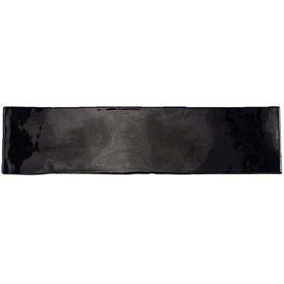 Catalina Black 3 in. x 12 in. x 8 mm Ceramic Wall Subway Tile
