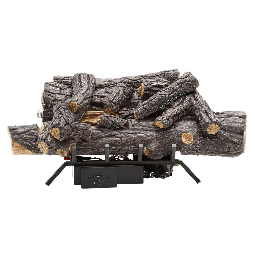 Bring a classic antique design to your space by adding this Emberglow Savannah Oak Vent-Free Natural Gas Fireplace Logs with Remote.