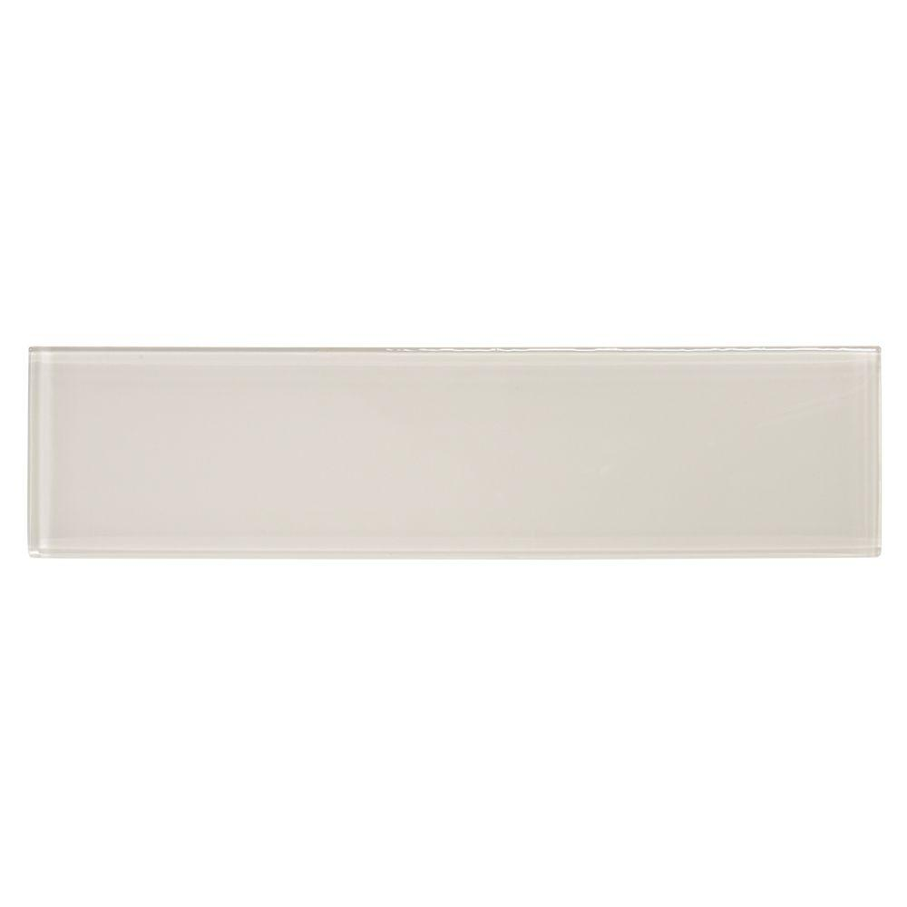 Grey 3 in. x 12 in. Glass Wall Tile (4-Pack)
