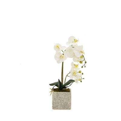 Artificial plants flowers home accents the home depot faux orchid white flower pot mightylinksfo