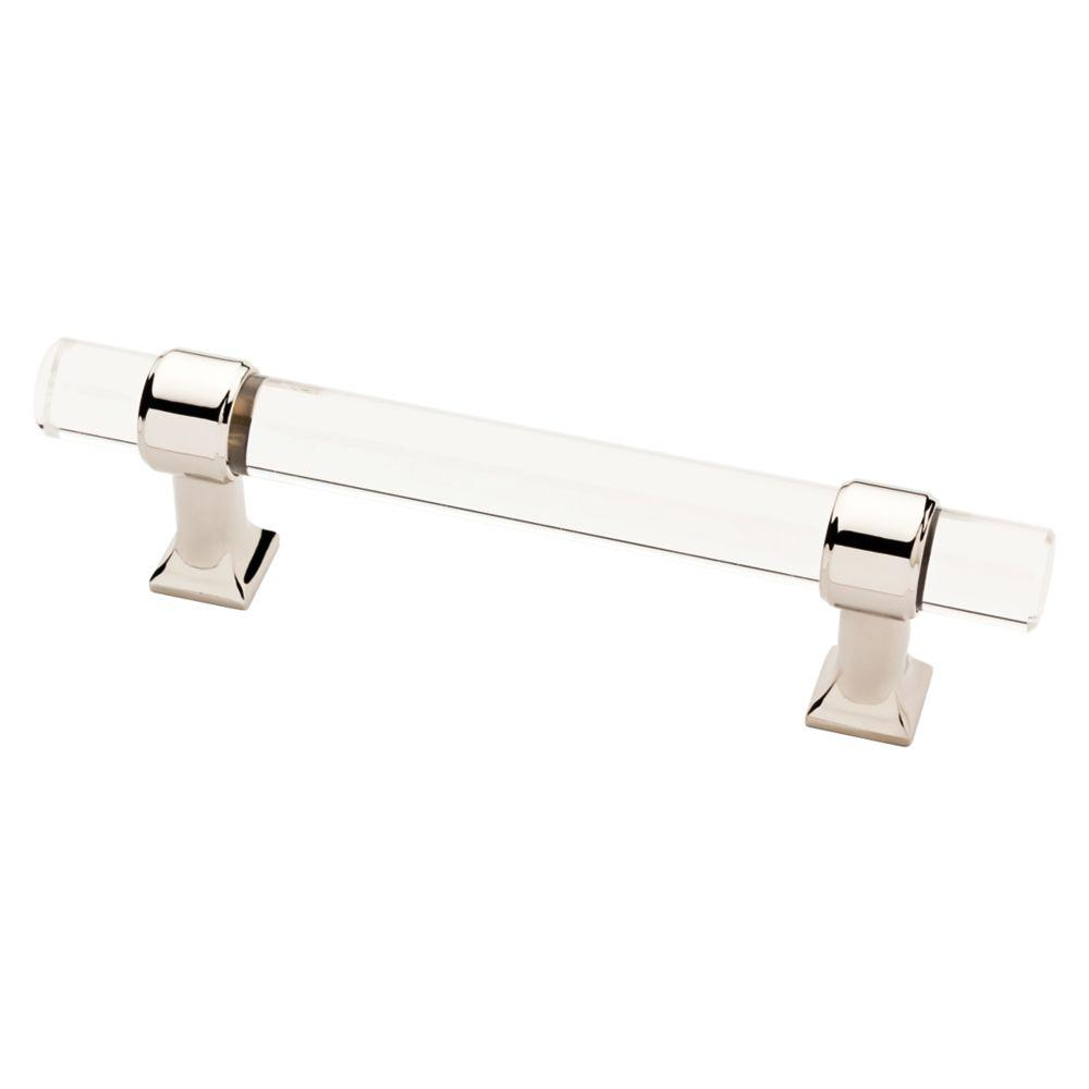 (96mm) Polished Nickel And Clear Acrylic Bar Pull P37296C PN CP   The Home  Depot