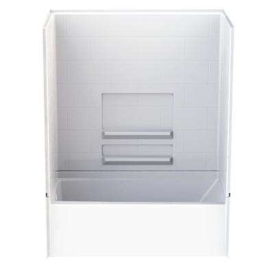 Remodeline Subway Tile 30 in. x 60 in. x 76 in. AcrylX Acrylic Finished 4-pc. Bath and Shower Kit w/Left Drain in White
