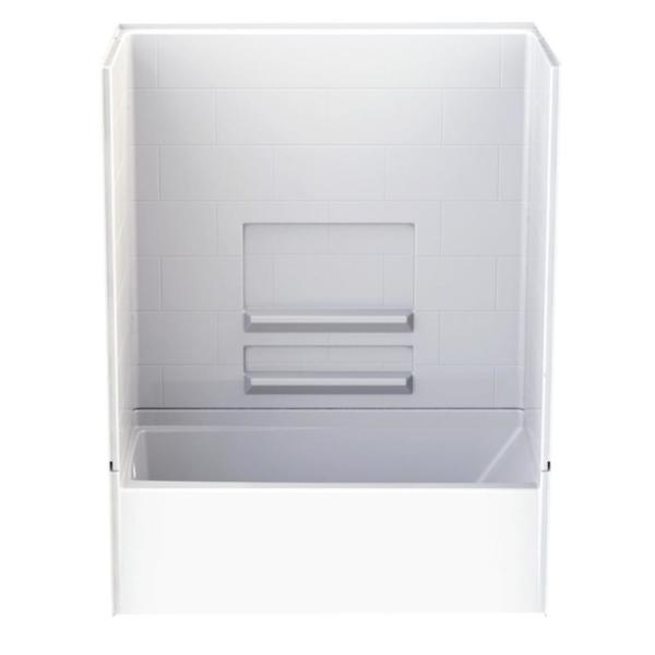Varia Subway Tile 30 in. x 60 in. x 76 in. AcrylX Acrylic Finished 4-pc. Bath and Shower Kit w/Left Drain in White