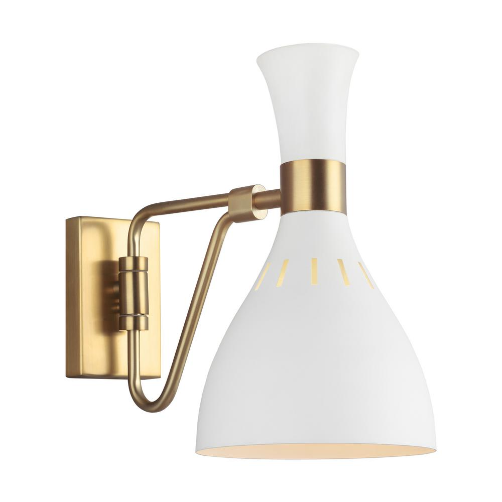 Generation Lighting Designer Collections ED Ellen DeGeneres Crafted by Generation Lighting Joan 6.25 in. W 1-Light Matte White and Burnished Brass Swivel Sconce
