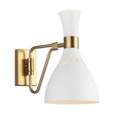 ED Ellen DeGeneres Crafted by Generation Lighting Joan 6.25 in. W 1-Light Matte White and Burnished Brass Swivel Sconce