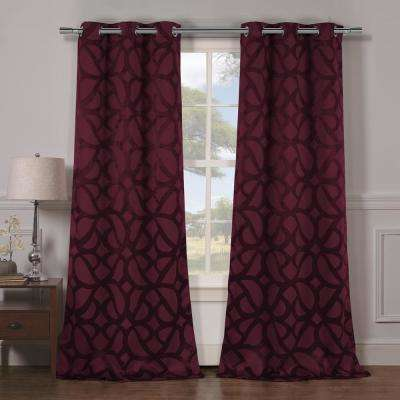 Charlotte 38 in. x 84 in. L Polyester Blackout Curtain Panel in Wine (2-Pack)