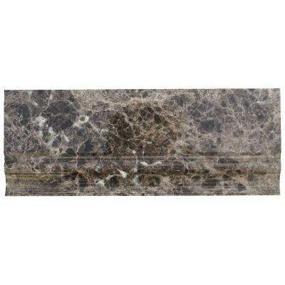 Dark Emperidor Base Molding 5 in. x 12 in. x 12 mm Marble Mosaic Floor and Wall Tile