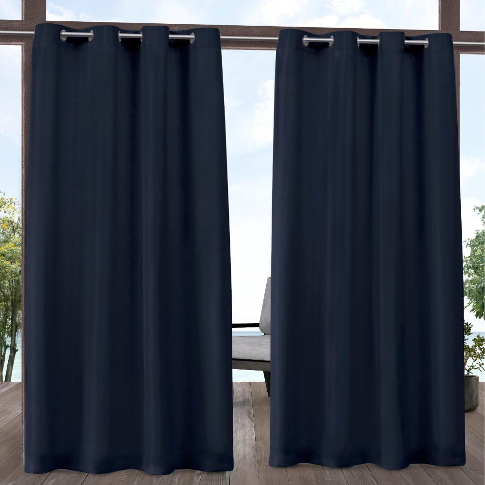 Indoor Outdoor Solid 54 in. W x 108 in. L Grommet Top Curtain Panel in Navy (2 Panels)