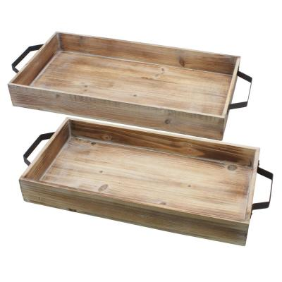 Brown Wood Serving Tray Set with Metal Handles (Set of 2)