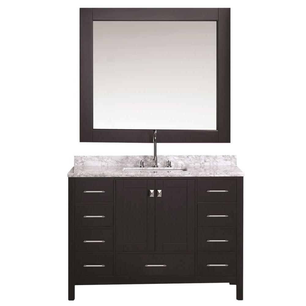 Design Element London 48 in. W x 22 in. D Vanity in Espresso with Marble Vanity Top and Mirror in Carrara White
