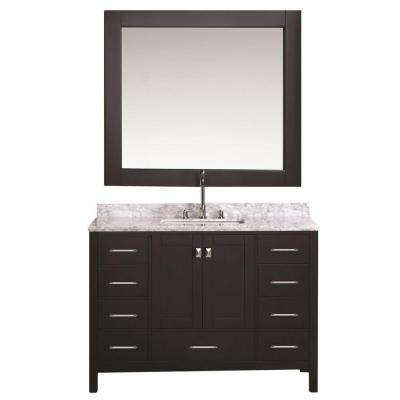 London 48 in. W x 22 in. D Vanity in Espresso with Marble Vanity Top and Mirror in Carrara White