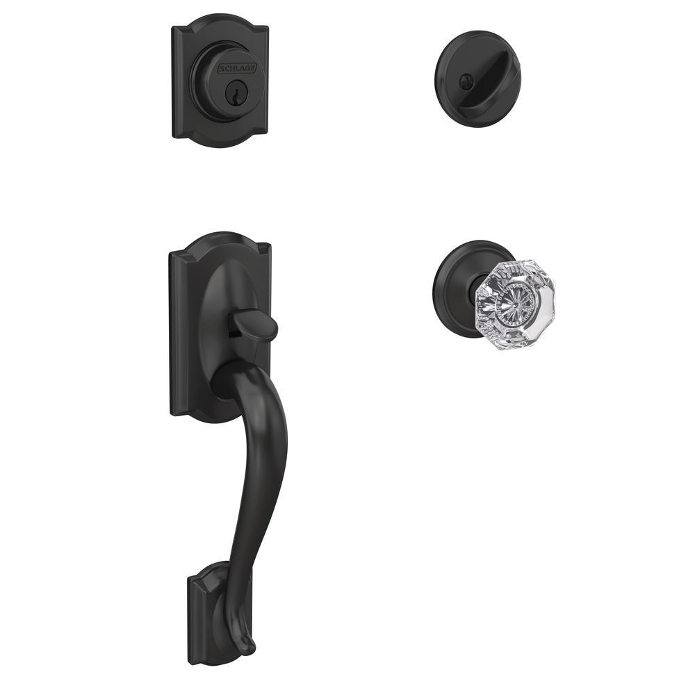 Custom Camelot Matte Black Single Cylinder Door Handleset with Alexandria Glass Door Knob