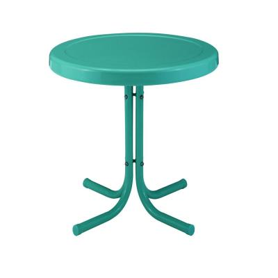 Retro Metal Turquoise Round Metal Outdoor Side Table