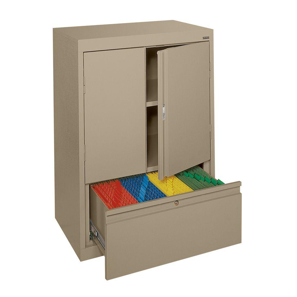 Sandusky System Series 30 In W X 42 In H X 18 In D Counter Height Storage Cabinet With File Drawer In Tropic Sand Hfdf301842 04 The Home Depot