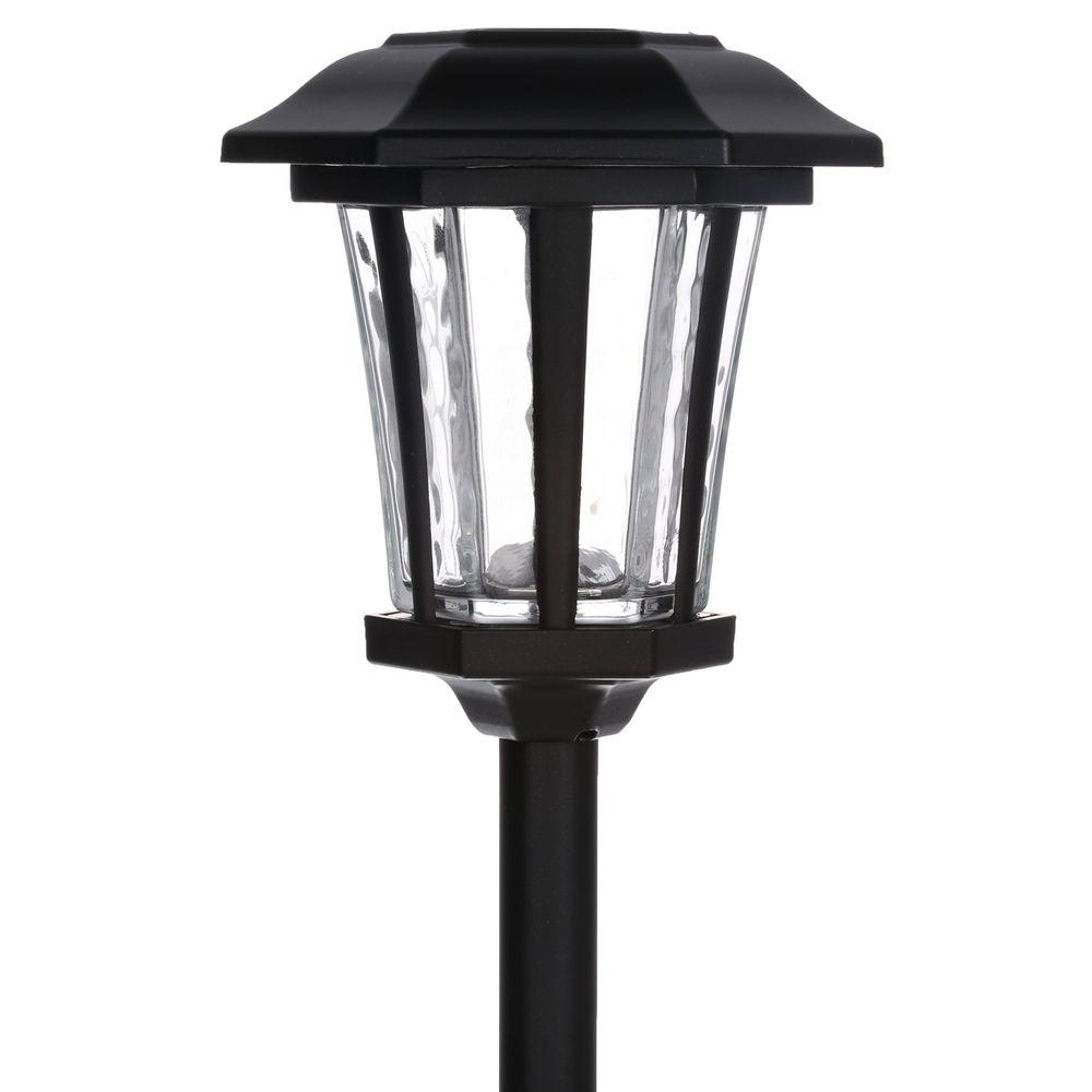 led path lights hampton bay solar bronze outdoor integrated led 11588