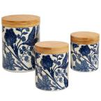 Blue Indigo 3-Piece Canister Set with Wooden Lids