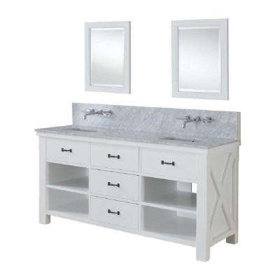 Xtraordinary Spa Premium 70 in. Double Vanity in Pearl White with Marble Vanity Top in Carrara White and Mirrors