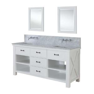Direct vanity sink Xtraordinary Spa Premium 70 inch Double Vanity in Pearl White with Marble Vanity Top in Carrara White... by Direct vanity sink