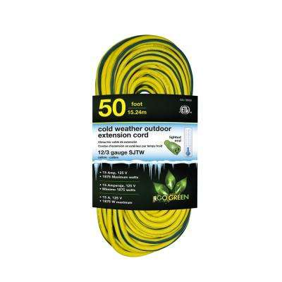 50 ft. 12/3 SJEOW Cold Weather Extension Cord with Lighted End