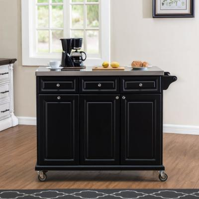 Midwood Black Wood Island Cart with Wheels, Storage Space and Trash Bin Storage