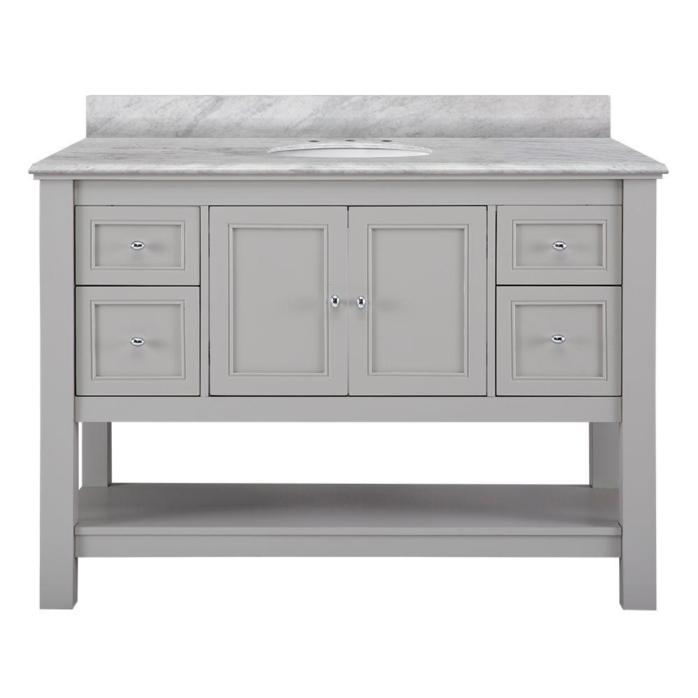 Home Decorators Collection Gazette 49 in. W x 22 in. D Bath Vanity in Grey with Marble Vanity Top in Cararra White was $1299.0 now $909.3 (30.0% off)