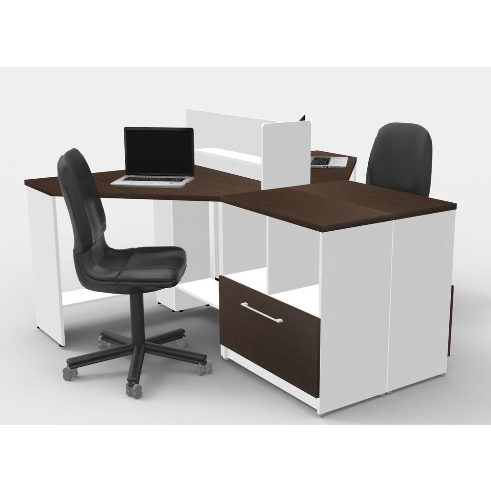 5-Piece White/Espresso Office Reception Desk Collaboration Center