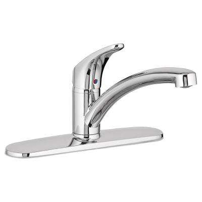 Colony Pro Single-Handle Standard Kitchen Faucet with Deck Plate in Polished Chrome