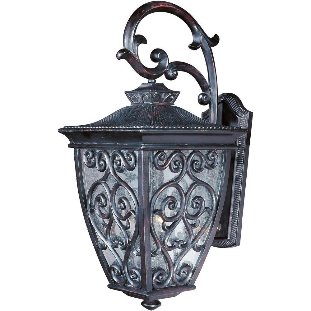 maxim lighting newbury vx 3 light oriental bronze outdoor wall mount