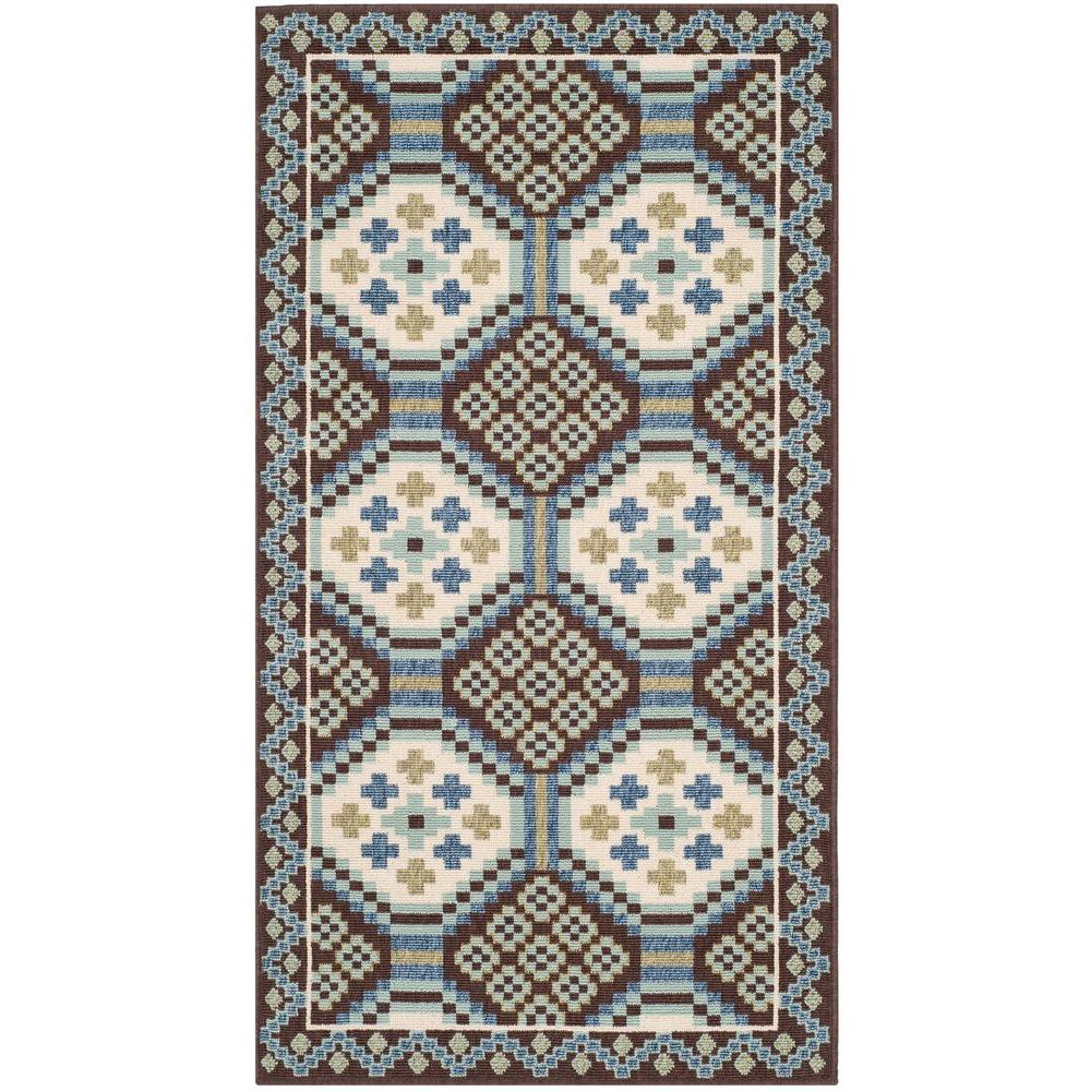Veranda Blue/Chocolate 2 ft. 7 in. x 5 ft. Indoor/Outdoor Area