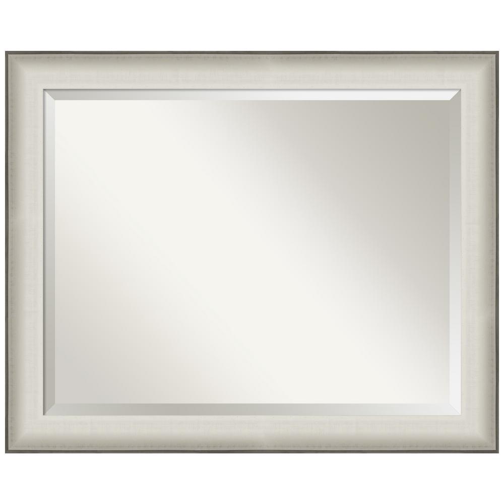 Medium Rectangle Silver MetallicWhite Beveled Glass Casual Mirror (26.5 in. H x 32.5 in. W)