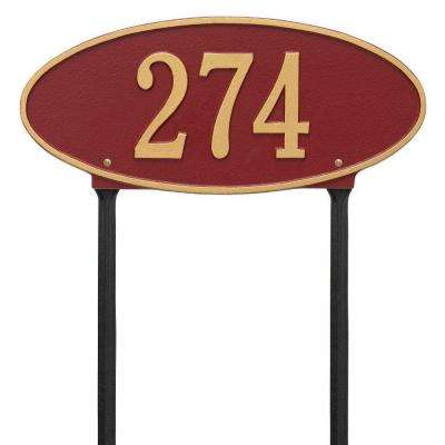 Madison Oval Standard Lawn 1-Line Address Plaque - Red/Gold