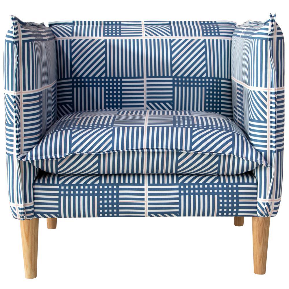 Framed Stripe Navy Blush French Seam Chair