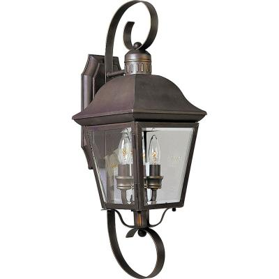 Andover Collection 2-Light 21.25 in. Outdoor Antique Bronze Wall Lantern Sconce