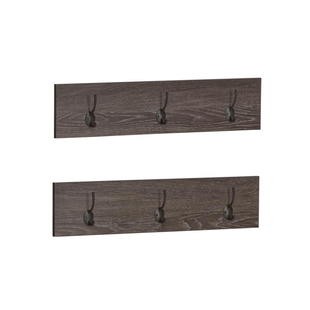 Afton Weathered Brown 3-Hook Coat Rack (2-Pk)