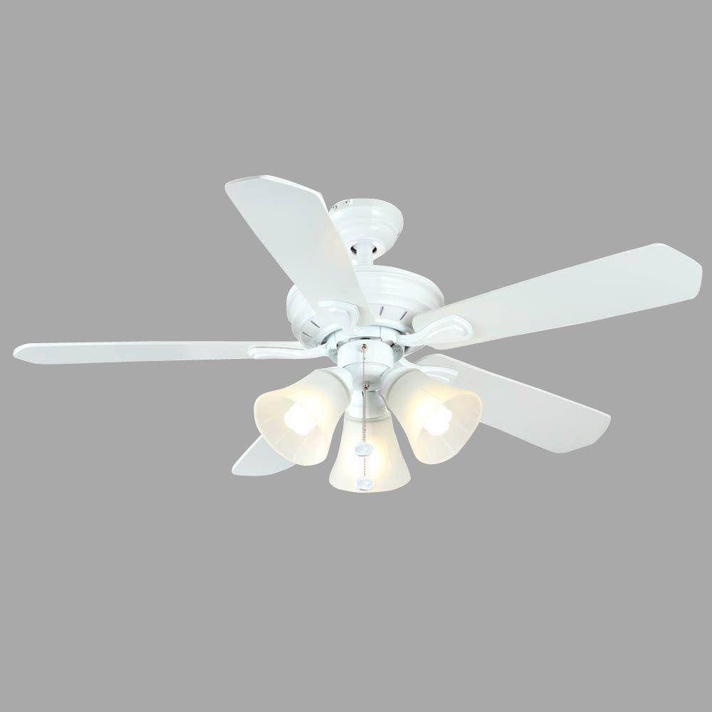Westmount 44 in. Indoor 3-Light Matte White Ceiling Fan with Light Kit