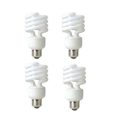 100-Watt Equivalent Spiral Non-Dimmable CFL Light Bulb Soft White (4-Pack)