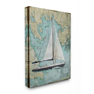 """36 in. x 48 in. """"Vintage World Map Sail Boat Ocean Coast Painting"""" by Art Licensing Studio Canvas Wall Art"""