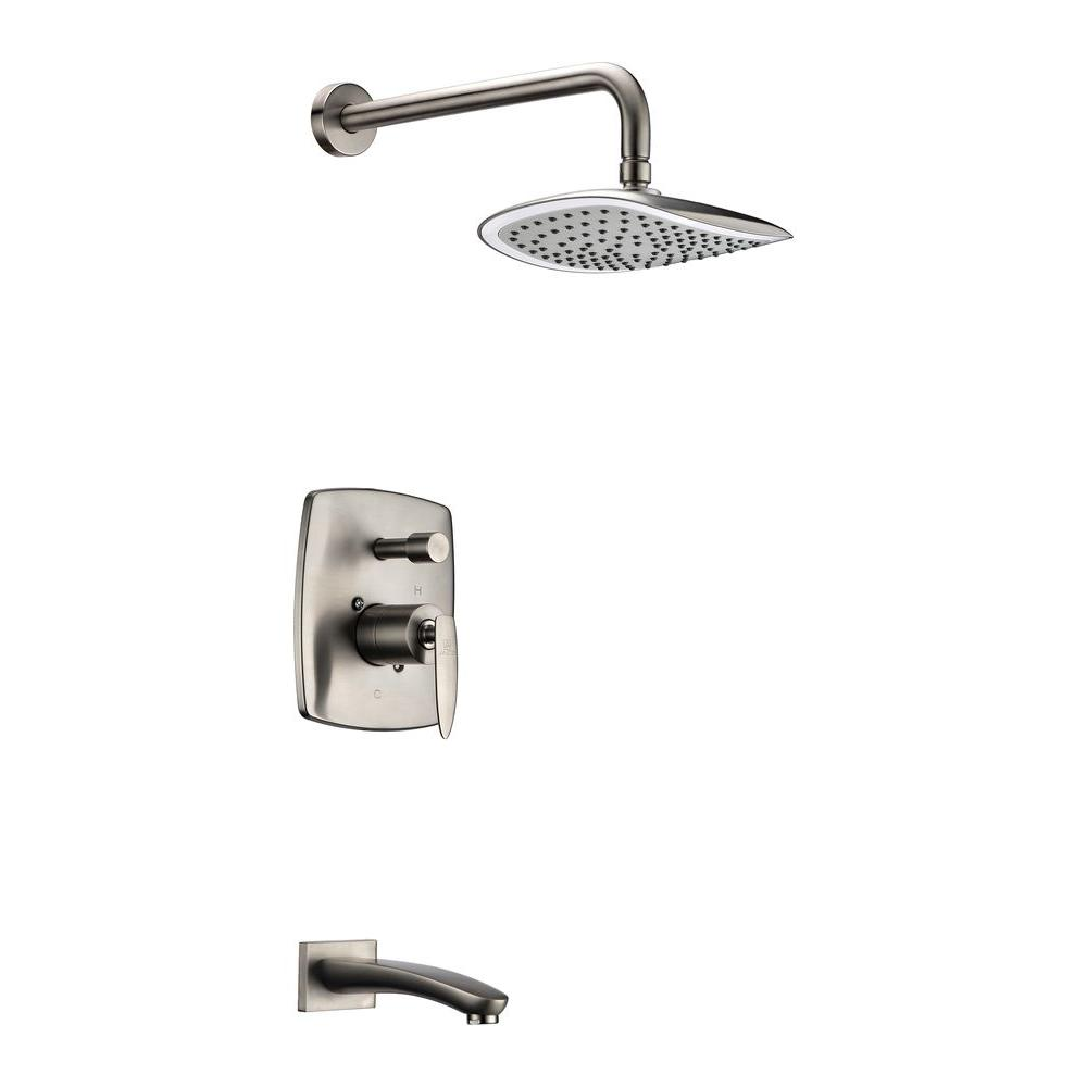 Tempo Series 1-Handle 1-Spray Tub and Shower Faucet in Brushed Nickel