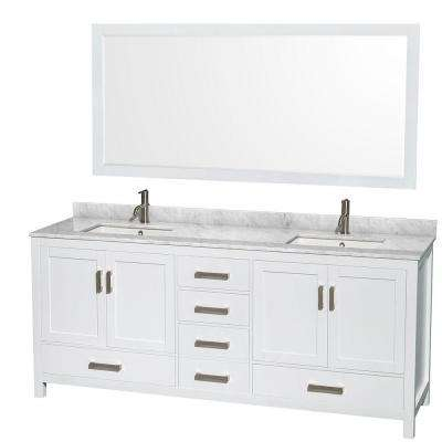 Sheffield 80 in. Double Vanity in White with Marble Vanity Top in Carrara White and 70 in. Mirror