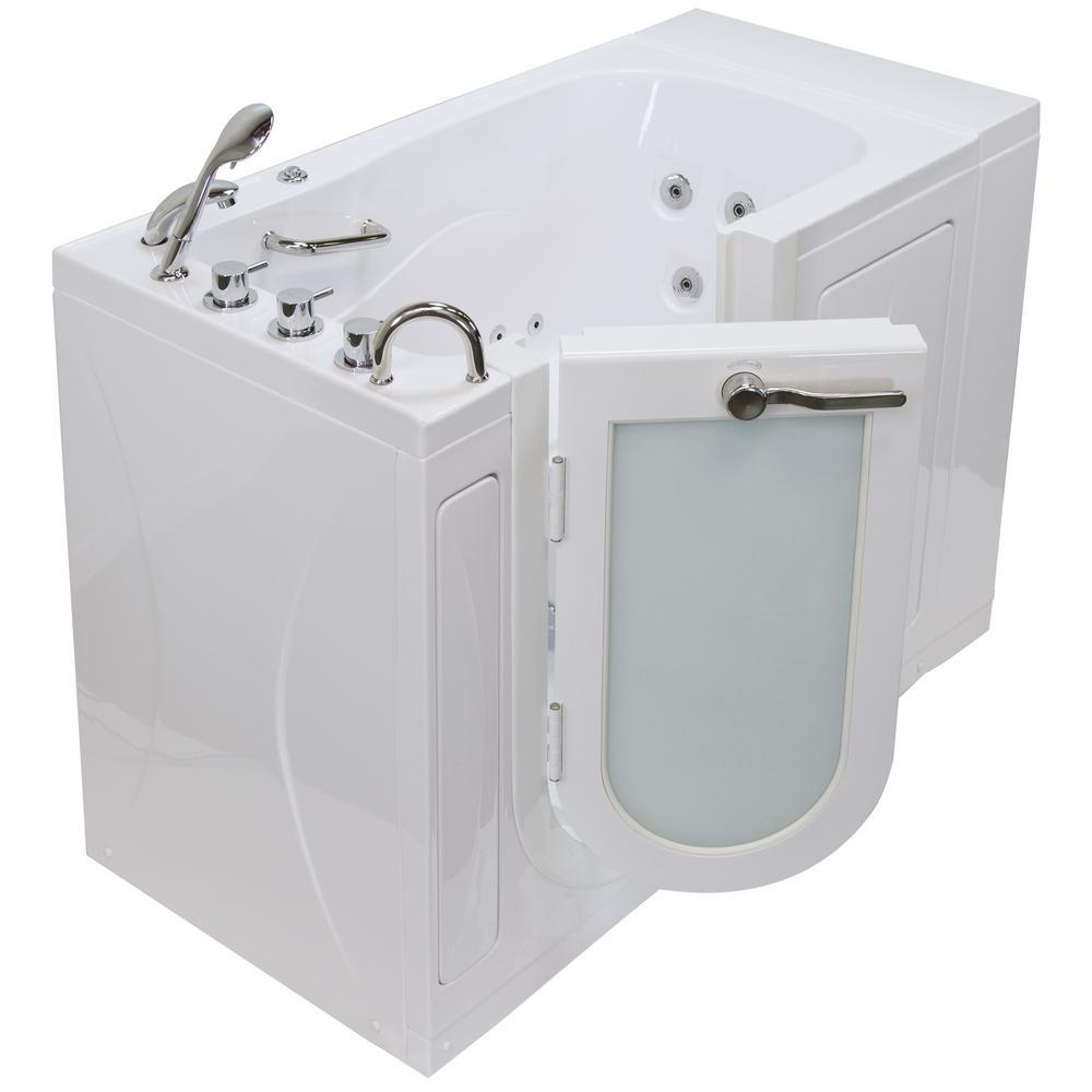 52 in. Malibu Acrylic Walk-In Whirlpool and Micro Bubble Air Tub in White