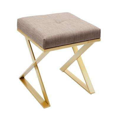 Tatum Gold Upholstered Square Vanity Bench