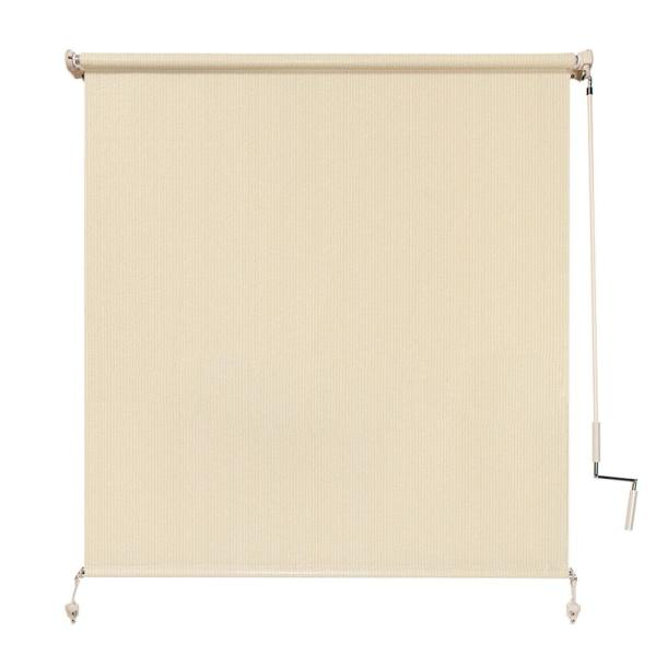 Sesame Cordless Light Filtering Fade Resistant Fabric Exterior Roller Shade 48 in. W x 72 in. L