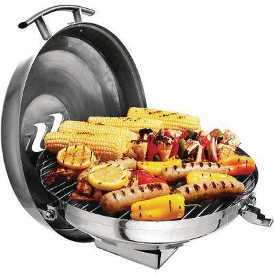 Portable 15 in. Dia. Kettle Propane Gas Grill in Stainless Steel