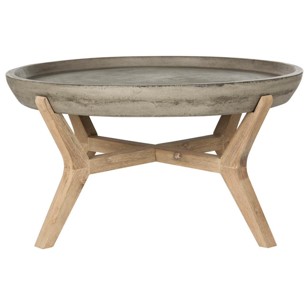 Safavieh Wynn Dark Gray Wood Indoor/Outdoor Coffee Table ...