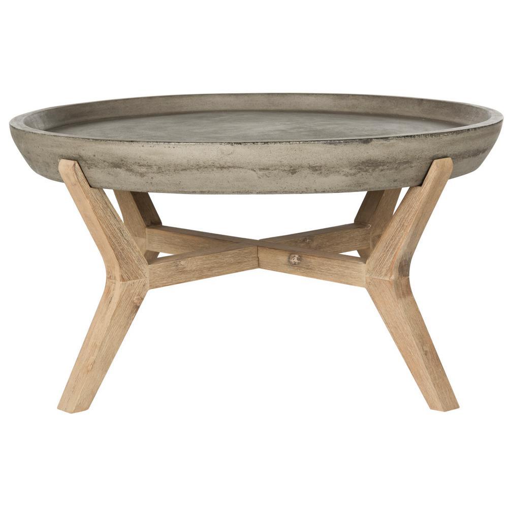 Wynn Dark Gray Round Stone Indoor/Outdoor Coffee Table