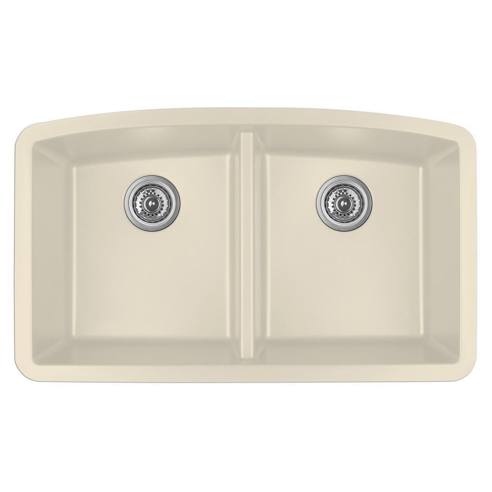 Undermount Quartz Composite 32 in. 50/50 Double Bowl Kitchen Sink in Bisque